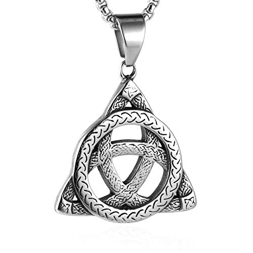 (HZMAN Vintage Stainless Steel Irish Celtic Triquetra Knot Pendant Necklace with Box Chain)