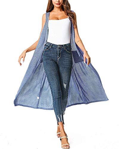 (UUANG Women's Cool Duster Coat Essential Open Front Long Maxi Soft Draped Cardigan (Blue,M))