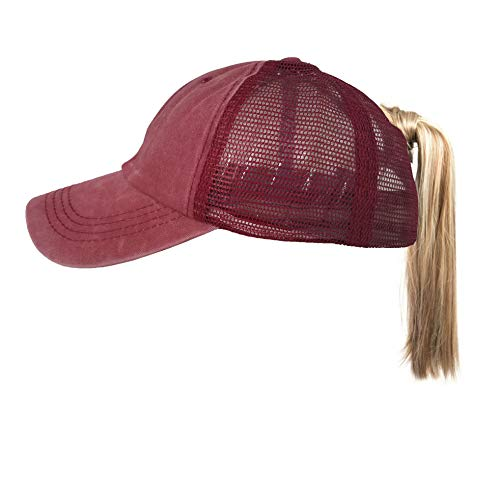 (Eohak Ponytail Baseball Hat Distressed | Trucker Hat High Messy Bun Two Tone Washed Cotton Retro Cap (Red Wine))