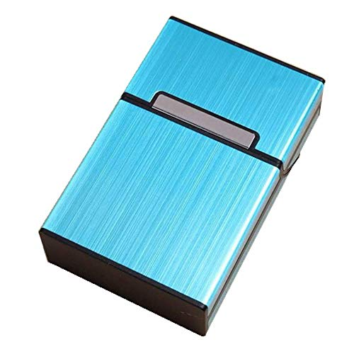 - JSDOIN Brushed Aluminum Cigarette Case, Hard Box and Holder with Solid Magnetic Flip Top Closure (King Size) (Metallic Silver) ... (Metallic Blue)
