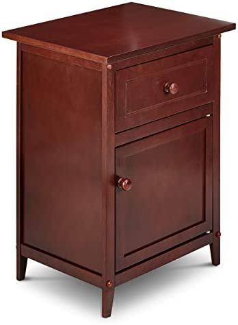 Civet Home with with storage cabinet Night Stand, Espresso