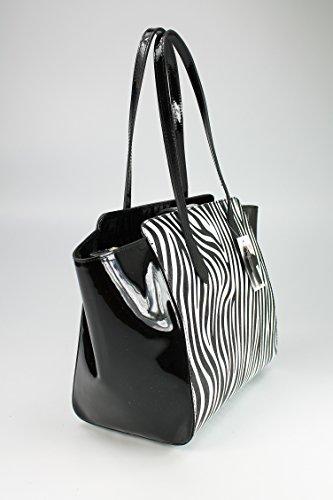 Belli sac à main ® r cuir noir verni motif zébré 30-46 x 29 x 17 cm (H x L x P)