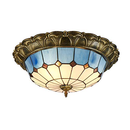 (LED Tiffany-Style Vintage Ceiling Lights, Blue Glass Shade Ceiling Lamps for bedrooms Surface Mounted Retro Lighting Fixture-White Light D-42cm/T-23cm)