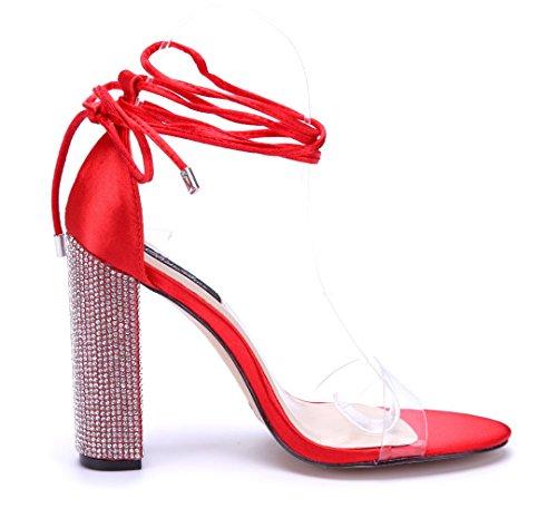 Schuhtempel24 Damen Schuhe Sandaletten Sandalen Blockabsatz Ziersteine 11 cm High Heels Rot