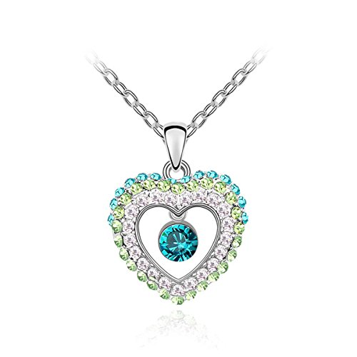 Plated Sterling Silver Heart Pendant Necklace Women Girl - Green Crystal Jewelry (Plated Sterling Silver Heart)