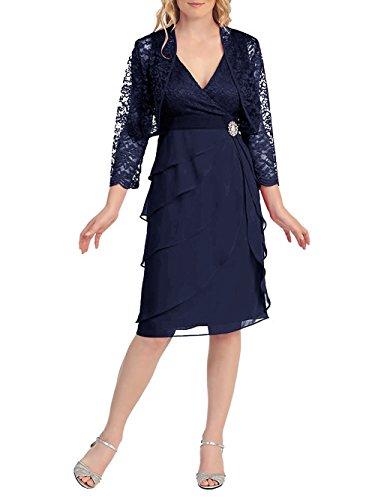 Dressyu Women's V Neck Short Lace Bridal Mother Dress with Jacket Formal Gown Navy Blue US16W (Bridal Dress Mother Impression)
