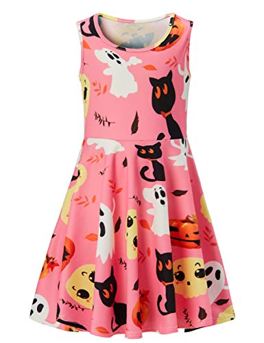 (RAISEVERN Girls Sleeveless Round Neck Floral Printed Halloween Scary Bat Pumpkin Skater Pink Swing Dress(4-13)