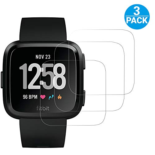 Ailun Screen Protector for Fitbit Versa/Versa Lite Edition 3Pack Screen Protector for Fitbit Versa Smart Watch Tempered Glass Anti-Scratch Bubble Free