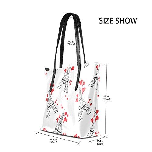 COOSUN Eiffels Love Hearts Muster PU Leder Schultertasche Handtasche und Handtaschen Tasche für Frauen