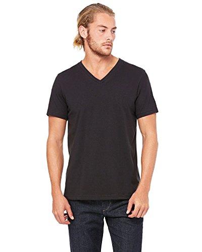(Bella 3005 Unisex Jersey Short Sleeve V-Neck Tee - Vintage Black, Extra Large )