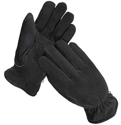 Mens Black Deerskin Leather (SKYDEERE Winter Work Gloves with Windproof & Wear-Resistant & Thick Deerskin Leather Suede for Ski, Driving, Motorcycle and Keep Warm in Cold Weather Work (Medium, Black for Men and Women))