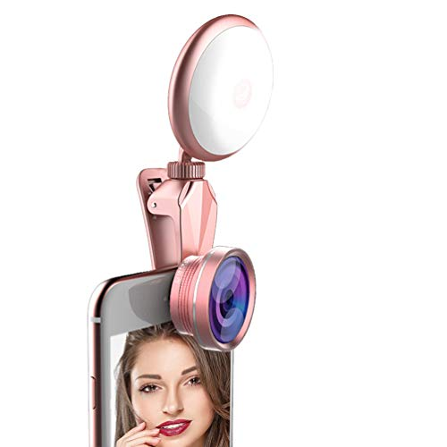 Vanjunn Selfie LED Light Case for iPhone 6 Plus / 6s Plus / 7 Plus / 8 Plus - Selfie Ring Light with Lens for iPhone 6 Plus 7 Plus 8 Plus Cell Phone with 360 Degree LED Rechargeable Ring Light(Lens)