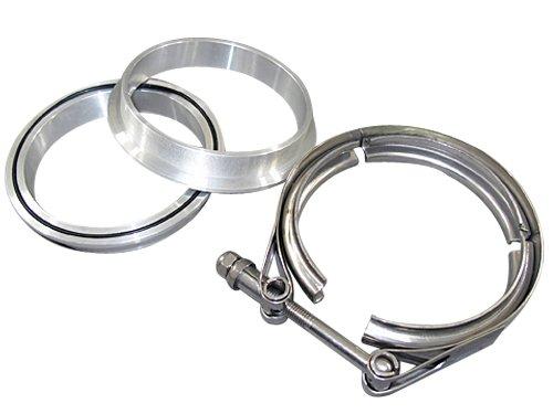 4.0 Inch Stainless Steel V-Band Clamp + 2 Aluminum Flanges (Aluminum V-band Flange)