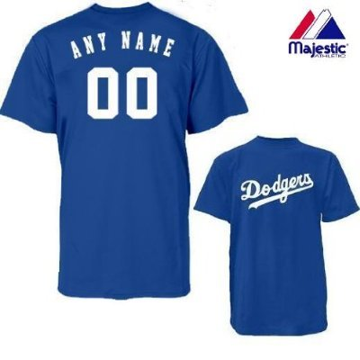 Majestic Athletic Los Angeles Dodgers Personalized Custom (Add Name & Number) ADULT MEDIUM 100% Cotton T-Shirt Replica Major League Baseball - Replica Custom Majestic Jerseys Mlb