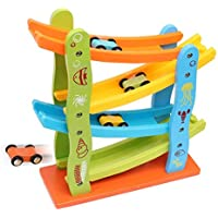 Children's educational toy track game wooden car sliding
