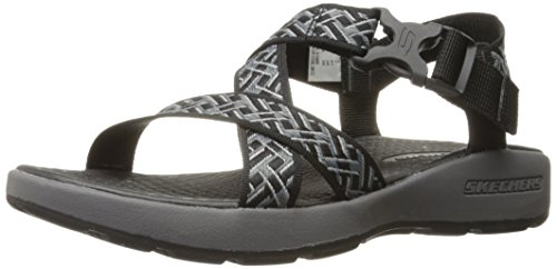 Skechers Sport Mens Outdoor Adjustable Fisherman Sandal,Black/Charcoal,10 M US