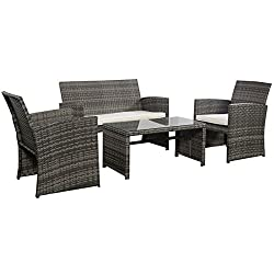 Goplus 4 PC Rattan Patio Furniture Set Garden Lawn Sofa Cushioned Seat Wicker Sofa (Mix Gray)