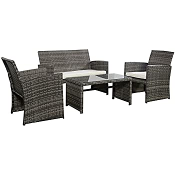goplus 4 pc rattan patio furniture set garden lawn sofa cushioned seat wicker sofa mix - Rattan Garden Furniture 4 Seater
