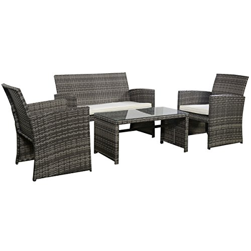 Goplus 4 PC Rattan Patio Furniture Set Garden Lawn Sofa Cushioned Seat Wicker Sofa (Mix Gray) (Cushions Nook Breakfast Set)