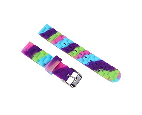 (16mm Silicone Perforated Pin Buckle Slim Women's Rubber Watch Band Waterproof Sport Soft Purple)