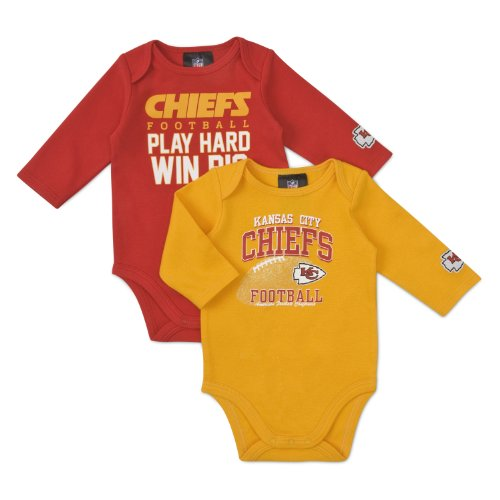 Chief Suit (NFL Kansas City Chiefs Boy's Long Sleeve Bodysuit, 3-6 Months, Red)