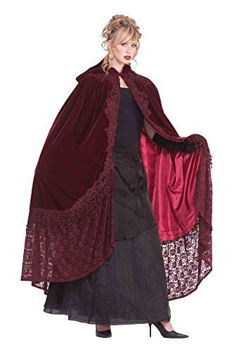 Forum Novelties Victorian Cape with Lace, Burgundy, One Size