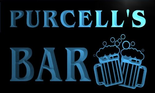 Price comparison product image w001517-b PURCELL'S Name Home Bar Pub Beer Mugs Cheers Neon Light Sign