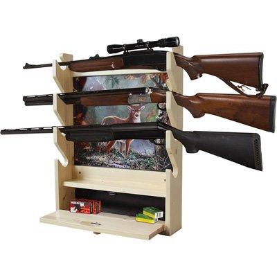 Rush Creek Creations Deer 4 Gun Wall Rack with Storage Compartment - Light ()