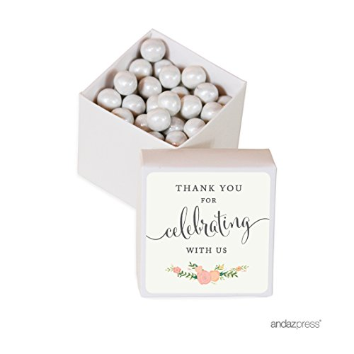 Andaz Press Mini Square Party Favor Box DIY Kit, Thank You for Celebrating With Us, Floral Roses Label with White Box, 20-Pack, For Birthday, Wedding Party Favors, Decorations
