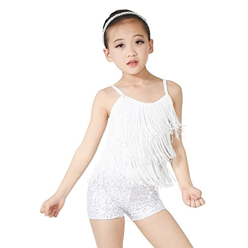 MiDee Girl's 2 Pieces Camisole Tassels Sequins Short Dance Costume Outfits (LC, White) ()