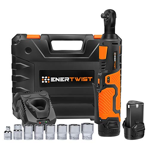 Li Ion Power Wrench - EnerTwist Cordless Electric Ratchet Wrench Set - 3/8