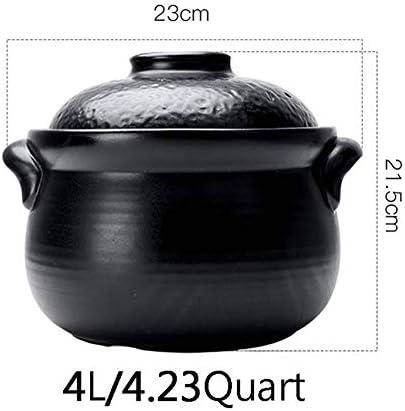 SCJ Casserole en céramique à Double Couvercle, marmite en Terre Cuite antiadhésive cuiseur antiadhésif Batterie de Cuisine Saine cuisinière Pot Soupe Pot Chaud Noir 4.23Quart