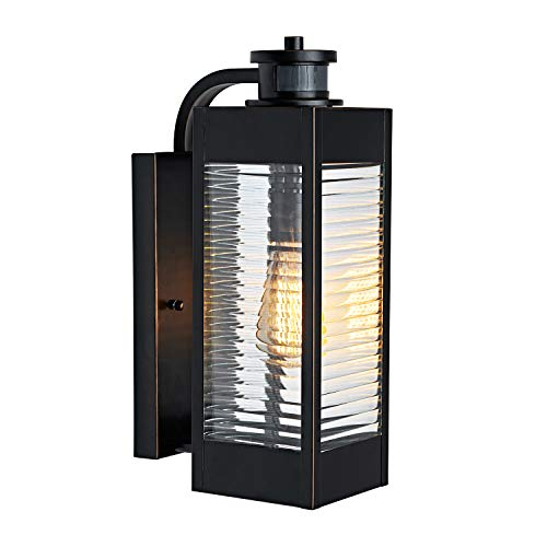 MOTINI Outdoor Wall Light Lantern 1-Light Armed Sconce with Motion Sensor,Bulb Included IP23 Waterproof Wall Lighting with Oil Rubbed Bronze Finish and Clear Ribbed Glass,ETL Listed