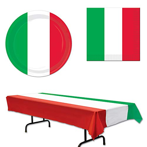 Italian Italy Tablecover Plates Napkins 33 Piece Bundle