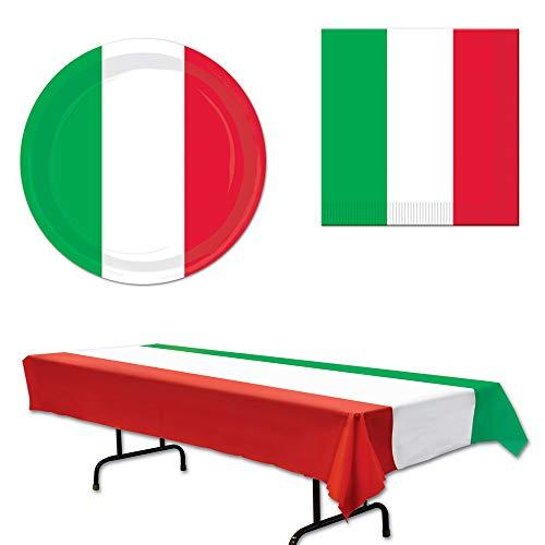 Italian Italy Tablecover Plates Napkins 33 Piece Bundle -