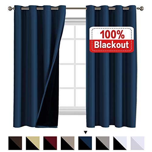 100% Blackout Curtains for Living Room Double Layer Faux Silk Curtains Room Darkening Thermal Insulated Energy Saving Grommet Window Treatment Panels (Navy, 52 by 63-inch)