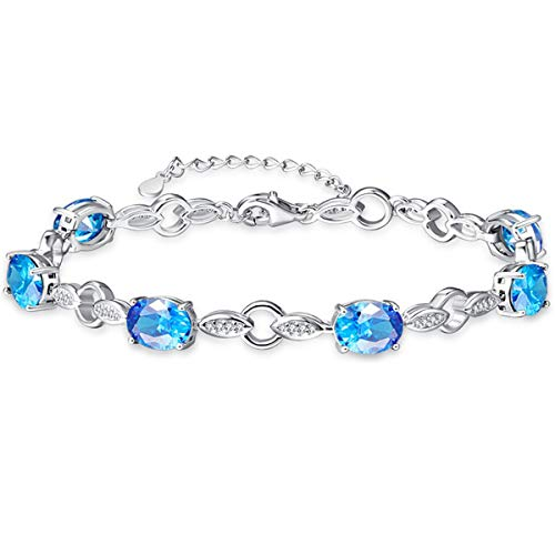 (BONLAVIE 4-Prong Created Swiss Blue Topaz White CZ 925 Solid Sterling Silver Link Chain Bracelet for Lovers)