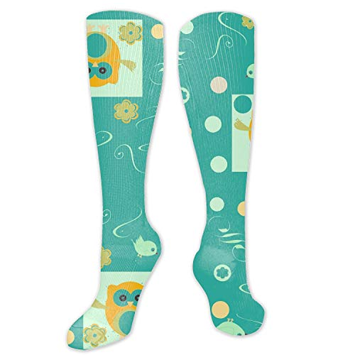 nadoab Women Socks Owls Pattern Background Knit Over Stockings Girls Tall Long Boot Leg Warmers