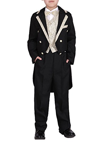 YUFAN Boys Black/White 5 Pieces Tuxedo Suits with Tail Tailcoat Vest Pants Shirt Bow Tie (Black-Gold, 6)