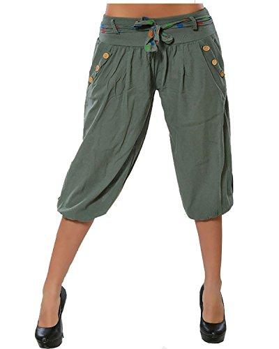 Army Harem Cropped Pantaloncini Green Yoga 4 Da Tempo Pantaloni Aladin Baggy Pantalone Capri Libero Donna Ginocchio Bloomers Vdual 3 Tagli pqzU44f