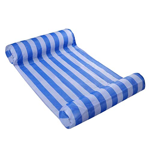 EA-STONE Multicolor Stripe Floating Sleeping Bed Water Pool Float, Sun Lounger Chair Float Air Inflatable Mattress Folding Floating Pad PVC Swimming Pool Accessories ,Deep Blue
