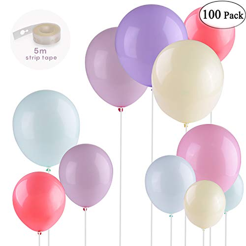 Party Balloons 100 Pcs 10 Inches Macaron Candy Colored Latex Balloons for Birthday Party Decoration/Baby Shower/Wedding Graduation/Christmas/Picnic or Any Friends & Family Party- Multicolor ()