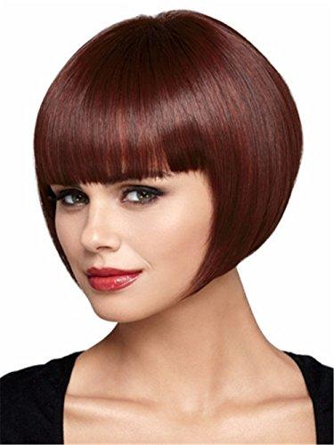 Finders bobo Wigs 8 Inch Women Wig Short Straight Synthetic Bob Wigs Heat Resistant Wig (Auburn Short Bob Wig)