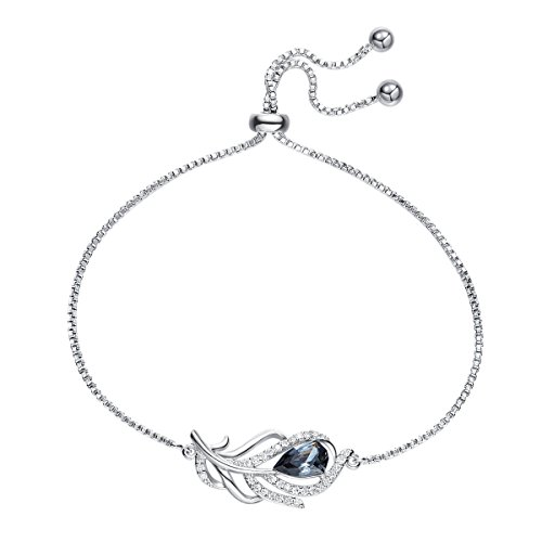 (YOURDORA Women's Fashion Jewelry Set 925 Sterling Siver Feather Bracelet with Black Crystal from Swarovski Adjustable Bangle)