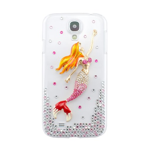 CaseBee® 3D Series - Cute Pink 3D Mermaid w/ Crystals Samsung Galaxy S4 i9500 Case - Handmade Perfect Gift - Bling Bling Rhinestones - (Package includes Extra Crystals & Screen Protector)