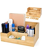 $22 » Bamboo Desk Organizers,All-in-One File Organizer Pencil Holder for Desk,Desk Organizers and Accessories Storage Desktop Organizer Office Supplies Organization with Handle and 9 Removable Dividers