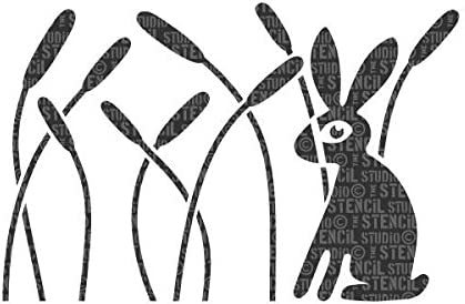 The Stencil Studio Rabbit /& Reeds Border Scandi Style Nursery Wall Stencil Reusable laser cut wall stencil for home decor 10586M A3 Childs Room or Nursery Size Medium