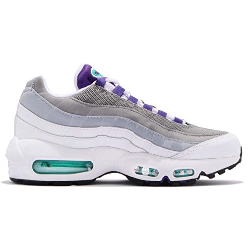 NIKE Women's WMNS Air Max 95, White/Court Purple-Emerald Green White//Dk Grey Heather/Royal Blue