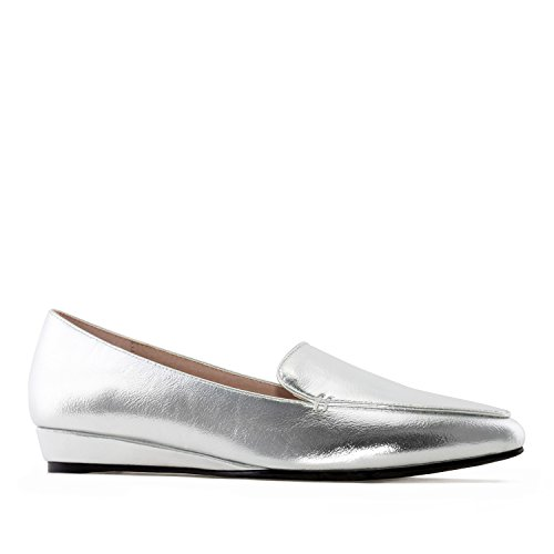 Andres Machado AM5227.Slipper Cut Wedge Moccasins In Faux Leather.Large Sizes:UK 8 To 10.5/EU 42 To 45. Silver faux Leather