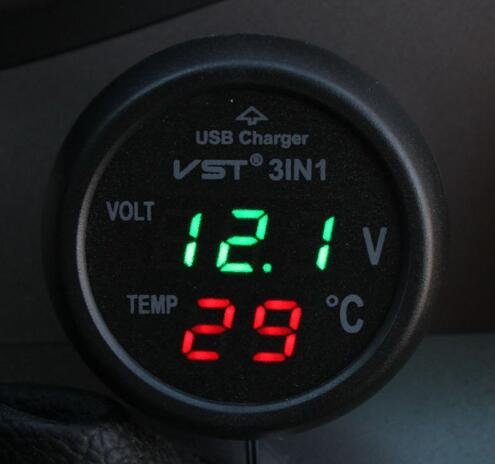 Voltmeter Thermometer Cigarette Lighter USB Charger Car